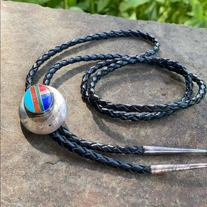 Sterling bolo tie inlaid stone